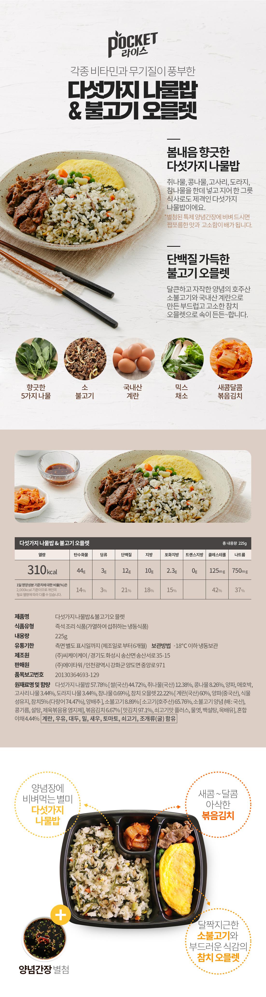 다섯가지나물밥&불고기오믈렛